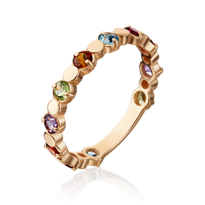 Кольцо из красного золота с хризолитом, гранатом, цитрином, топазом и аметистом 01-5352-00-252-1110-57