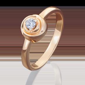 Помолвочное кольцо из красного золота с бриллиантом 01-5000-00-101-1110-30