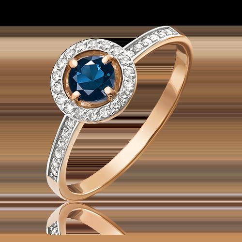 Кольцо из красного золота с сапфиром и бриллиантом 01-1277-00-105-1110-30