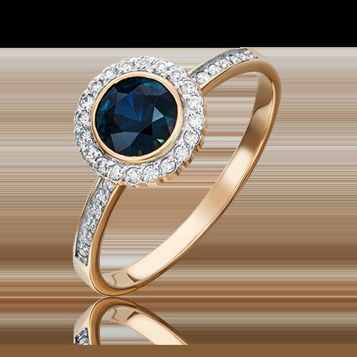 Кольцо из красного золота с сапфиром и бриллиантом 01-1279-00-105-1110-30