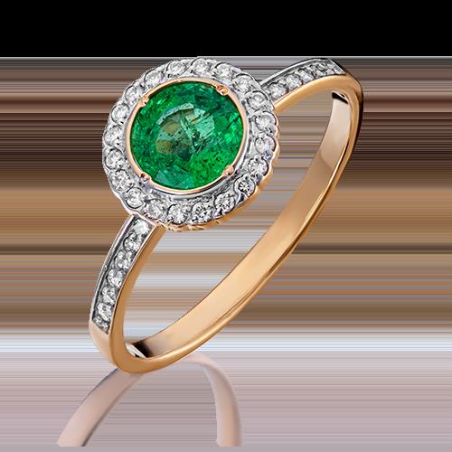 Кольцо из красного золота с изумрудом и бриллиантом 01-1279-00-106-1110-30