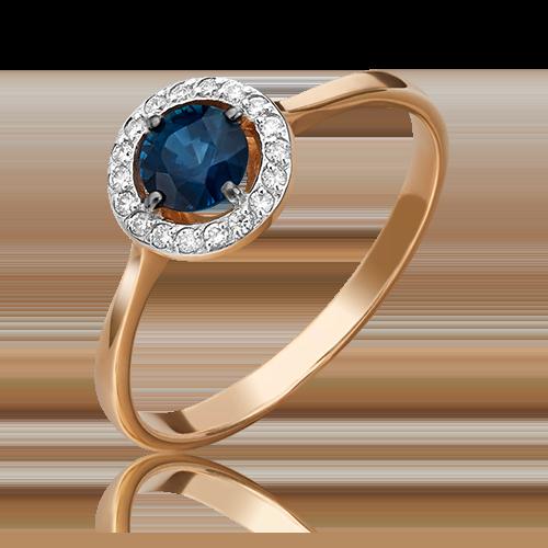 Кольцо из красного золота с сапфиром и бриллиантом 01-1281-00-105-1110-30