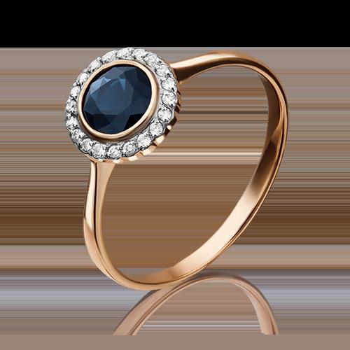 Кольцо из красного золота с сапфиром и бриллиантом 01-1283-00-105-1110-30