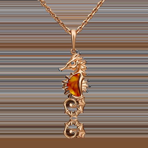 Подвеска из красного золота янтарём 03-2973-00-271-1110-46