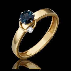 Кольцо из лимонного золота с сапфиром и бриллиантом 01-5211-00-105-1121-30