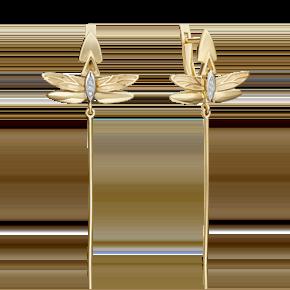 Серьги с английским замком из лимонного золота с бриллиантом 02-4811-00-101-1121