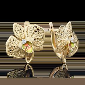 Серьги с английским замком из лимонного золота с фианитом и эмалью 02-3939-00-401-1130-48