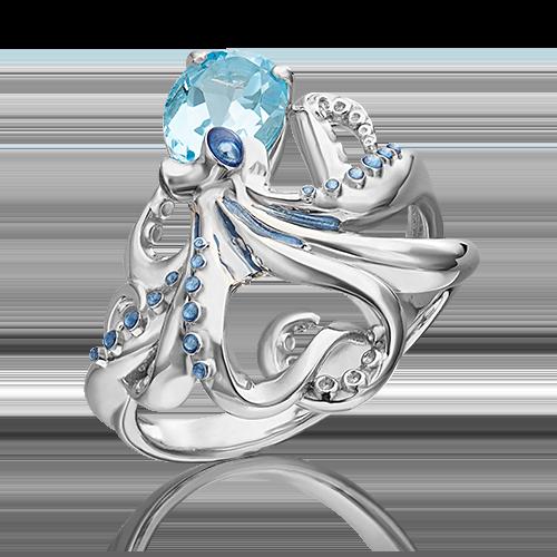 Кольцо из серебра с топазом и эмалью 01-5487-00-201-0200-69