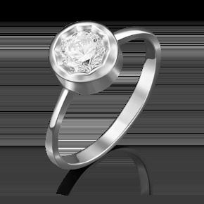 Помолвочное кольцо из белого золота с фианитом огр.SW 01-4874-00-501-1120-38