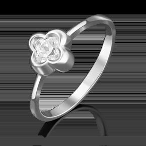 Помолвочное кольцо из белого золота с фианитом огр.SW 01-4875-00-501-1120-38