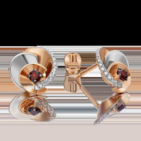 Серьги-пусеты из комбинированного золота с гранатом и топазом white 02-4761-00-264-1111-75