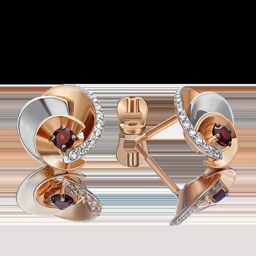 Серьги-пусеты из комбинированного золота с гранатом и топазом 02-4761-00-264-1111-75
