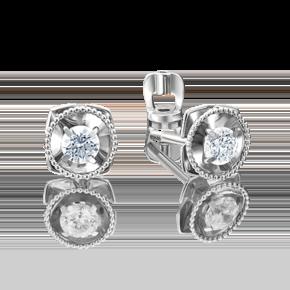 Серьги-пусеты из белого золота с бриллиантом 02-4187-00-101-1120-30