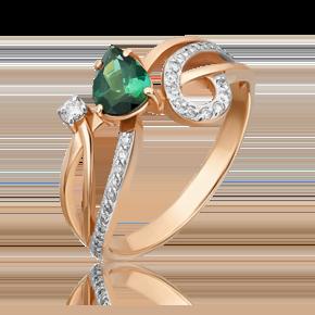 Кольцо из красного золота с турмалином и бриллиантом 01-0232-00-116-1110-30