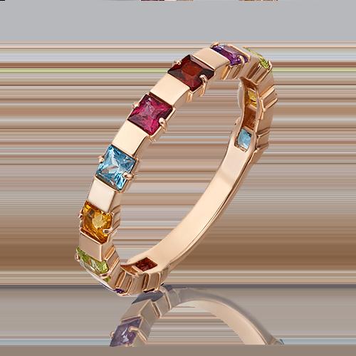 Кольцо из красного золота с хризолитом, гранатом, цитрином, топазом и аметистом 01-5321-00-252-1110-57