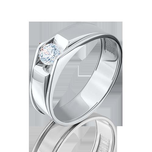 Кольцо из белого золота фианитом огр.SW 01-5075-00-501-1120-38