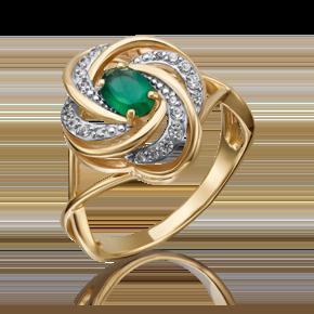 Кольцо из лимонного золота с халцедоном и фианитом 01-4633-00-275-1130-47