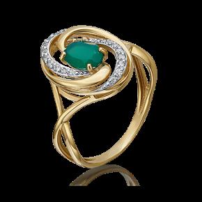 Кольцо из лимонного золота с халцедоном и фианитом 01-4640-00-275-1130-47