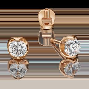 Серьги-пусеты из красного золота с фианитом огр.SW 02-4560-00-501-1110-38