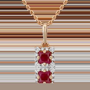 Подвеска из красного золота с рубином и бриллиантом 03-3308-00-107-1110-30