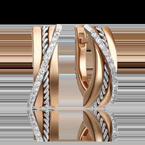 Серьги с английским замком из комбинированного золота с бриллиантом 02-4341-00-101-1111-30