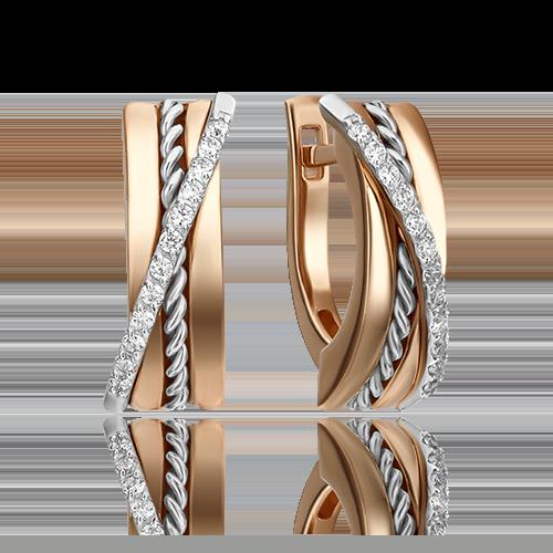 Серьги с английским замком из комбинированного золота бриллиантом 02-4341-00-101-1111-30