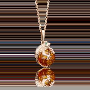 Подвеска из красного золота с янтарём и фианитом 03-2509-00-272-1110-46