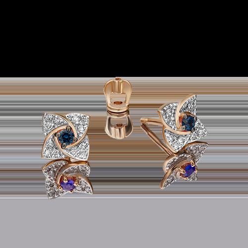Серьги-пусеты из красного золота с сапфиром и бриллиантом 02-0845-00-105-1110-30