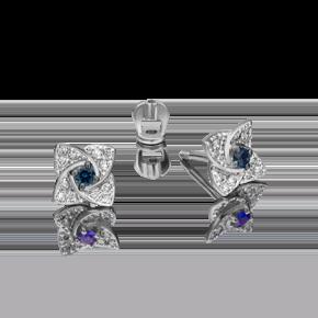 Серьги-пусеты из белого золота с сапфиром и бриллиантом 02-0845-00-105-1120-30