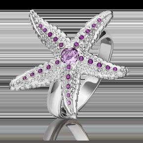 Кольцо из серебра с аметистом и эмалью 01-5476-00-203-0200-68
