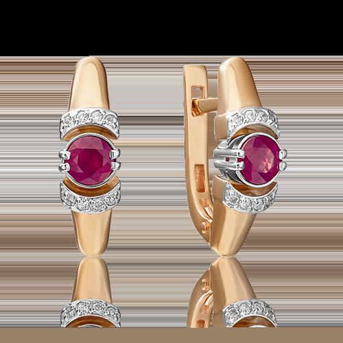 Серьги с английским замком из красного золота с рубином и бриллиантом 02-0604-00-107-1110-30