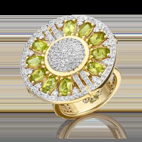 Кольцо из лимонного золота с хризолитом и бриллиантом 01-5556-00-118-1130-30