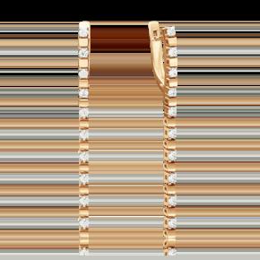 Серьги с английским замком из красного золота с бриллиантом 02-4241-00-101-1110-30
