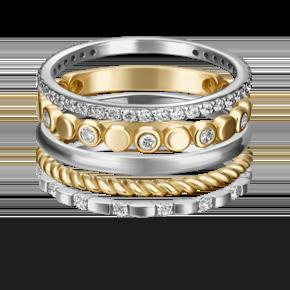Наборное кольцо из лимонного золота с фианитом 13-0008-00-401-1121-48