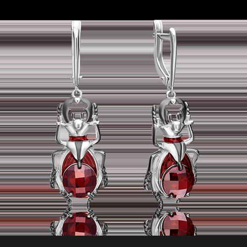Серьги с английским замком из серебра с фианитом и эмалью 02-4784-00-404-0200-68