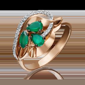 Кольцо из красного золота с изумрудом и бриллиантом 01-5221-00-106-1110-30