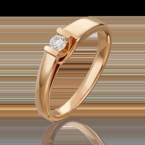 Помолвочное кольцо из красного золота с бриллиантом 01-4972-00-101-1110-30