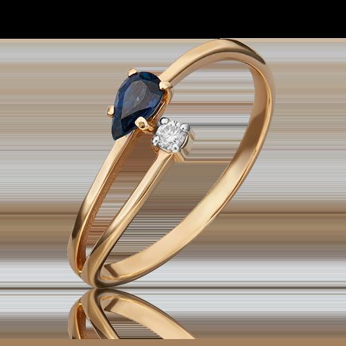 Кольцо из красного золота с сапфиром и бриллиантом 01-0712-00-105-1110-30