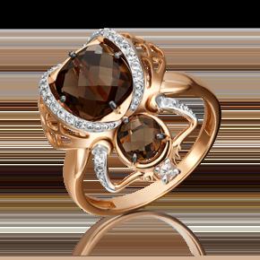 Кольцо из красного золота с кварцем дымчатым и топазом white 01-5409-00-715-1110-57