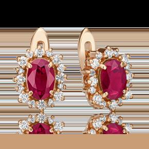 Серьги с английским замком из красного золота с рубином и бриллиантом 02-4880-00-107-1110-30