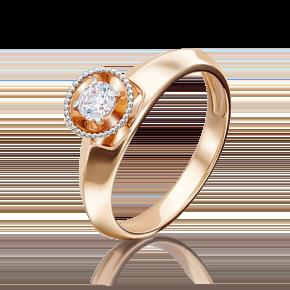 Кольцо из красного золота с бриллиантом 01-5126-00-101-1110-30