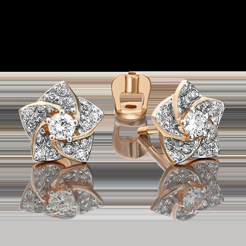 Серьги-пусеты из красного золота с бриллиантом 02-0869-00-101-1110-30