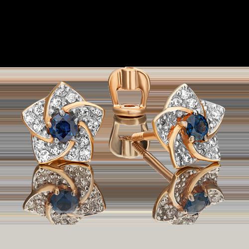 Серьги-пусеты из красного золота с сапфиром и бриллиантом 02-0869-00-105-1110-30