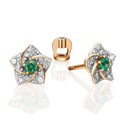 Серьги-пусеты из красного золота с изумрудом и бриллиантом 02-0869-00-106-1110-30