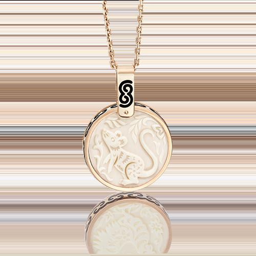 Подвеска из красного золота с бивнем мамонта и эмалью 03-2452-01-292-1110-46