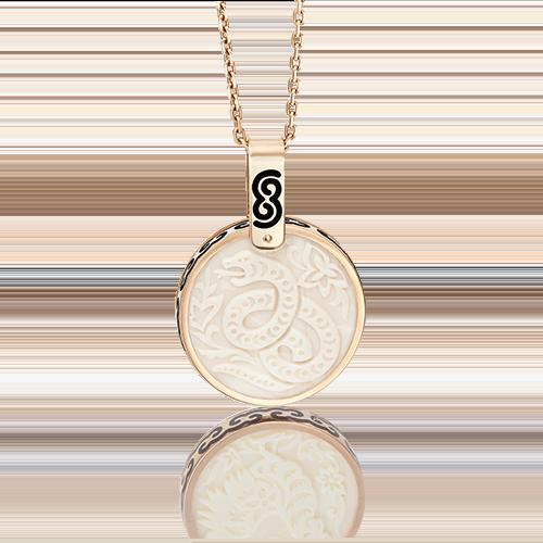 Подвеска из красного золота с бивнем мамонта и эмалью 03-2452-06-292-1110-46