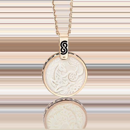 Подвеска из красного золота с бивнем мамонта и эмалью 03-2452-07-292-1110-46