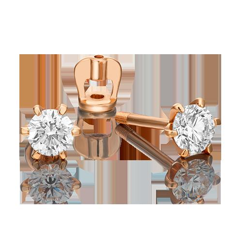 Серьги-пусеты из красного золота с бриллиантом 02-0287-00-101-1110-30