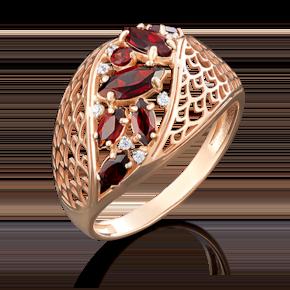 Кольцо из красного золота с гранатом и фианитом 01-4918-00-210-1110-46