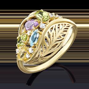 Кольцо из лимонного золота с хризолитом, цитрином, топазом, аметистом и фианитом 01-4919-00-227-1130-46